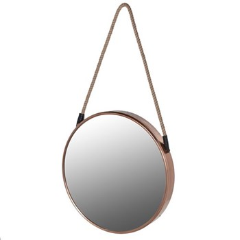 Round mirror, 86 x 47cm, copper