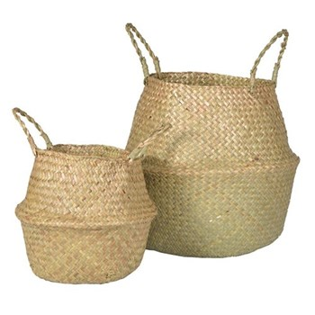 A pair of baskets, 23 x 27 / 36 x 38cm, natural grass