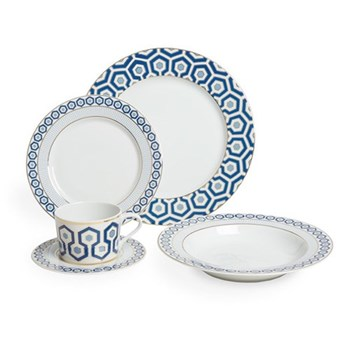 Newport 5 piece dinner set, navy and blue in glaze and 24-karat gold detailing