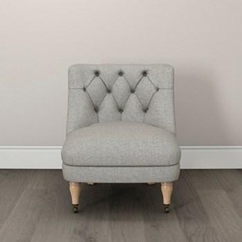 Tub chair, H74 x W64 x L72cm, mid grey/ tweed