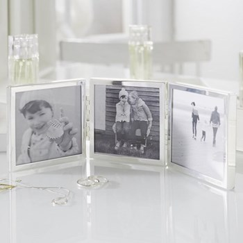 "Triple Aperture Photograph frame - multi hinged, 3 x 3"", fine silver"