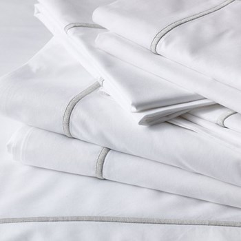 Savoy - 400 Thread Count Double flat sheet, W230 x L275cm, white with silver cord