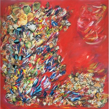 Example Artwork Red Play For The Butterflies by Victoria Horkan, 100 x 100 x 4cm