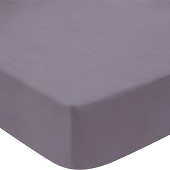 Classic 300TC Percale Super king size fitted sheet, 180 x 203cm, charcoal cotton