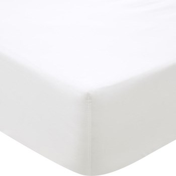 500TC Cotton Sateen Super king size fitted sheet, 180 x 203cm, snow