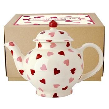 Pink Hearts Teapot, 4 mug