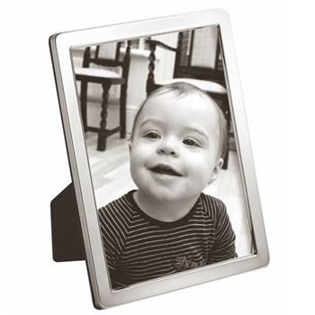 "N Series - Plain Photograph frame, narrow, 10 x 8"", sterling silver with blue velvet back"