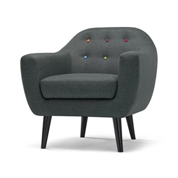 Ritchie Armchair, H86 x W83 x D85cm, anthracite grey with rainbow buttons