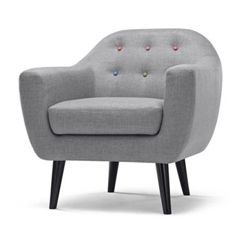 Ritchie Armchair, H86 x W83 x D85cm, pearl grey with rainbow buttons