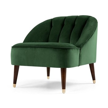Margot Accent chair, H72 x W77 x D73cm, forrest green velvet