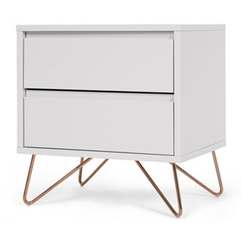 Elona Bedside table, H53 x W50 x D40cm, copper and grey wood