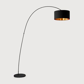 Sweep Floor lamp, 206 x 106 x 36cm, matt black and copper