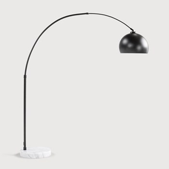 Bow Lamp, H196(max)/175(min) x W150cm, matt black metal and marble
