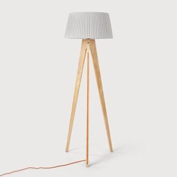 Miller Floor lamp, H150 x W50 x D50cm, natural wood and orange