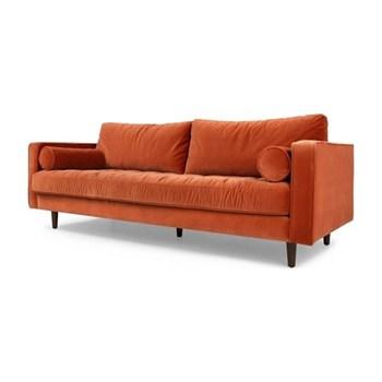 Scott 3 seater sofa, H83 x W226 x D100cm, burnt orange cotton velvet