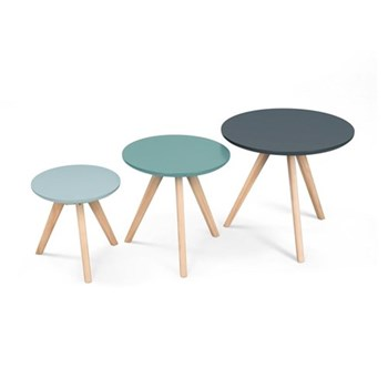 Orion Set of 3 side tables, H45 x W50 x D50cm, H40 x W40 x D40cm, H32 x W32 x D32cm, blue pine