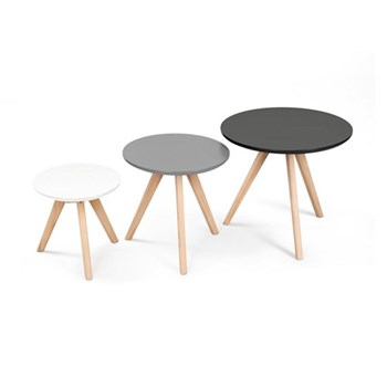 Orion Set of 3 side tables, H45 x W50 x D50cm, H40 x W40 x D40cm, H32 x W32 x D32cm, grey pine