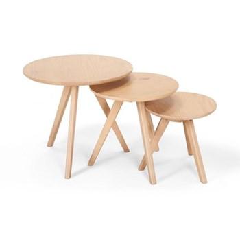 Orion Set of 3 side tables, H45 x W50 x D50cm, H40 x W40 x D40cm, H32 x W32 x D32cm, neutral pine