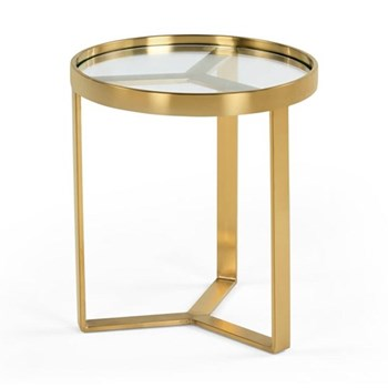 Aula Side table, H45 x W45 x D50cm, copper, brass and glass