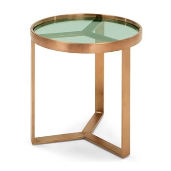 Aula Side table, H50 x W45 x D45cm, brushed copper and green glass