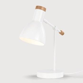 Cohen Bedside table lamp, Shade D12.5 x H17cm, Base D13 x H2.5cm, Stem 23cm, white metal