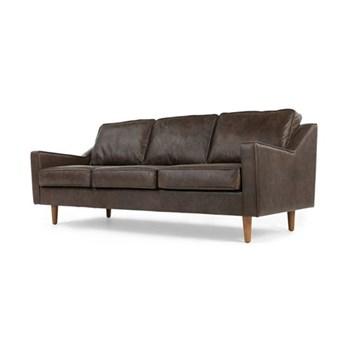 Dallas 3 seater sofa, H77 x W212 x D91cm, Oxford brown leather