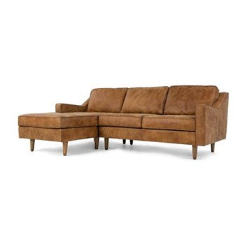 Dallas Left hand facing chaise end sofa, H77 x W226 x D91cm/156cm, outback tan leather