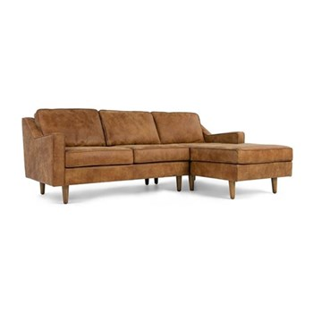Dallas Right hand facing chaise end sofa, H77 x W226 x D91cm/156cm, outback tan leather