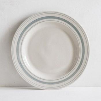 Linen Stripe Dinner plate, 28cm, duck egg blue, full glaze