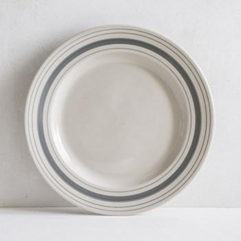 Linen Stripe Dessert plate, 21.5cm, grey, full glaze