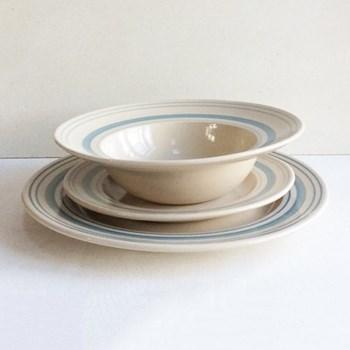 Linen Stripe Shallow bowl, 26cm, duck egg blue, full glaze