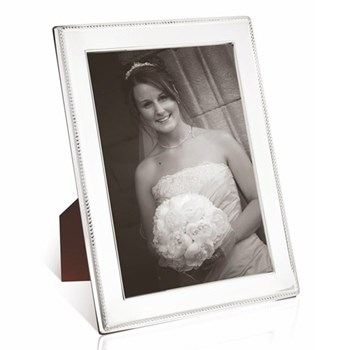 """W Series - Rope Photograph frame, 10 x 8"""", sterling silver with mahogany finish back"""