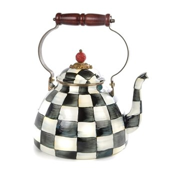 Courtly Check Tea kettle, 17.8 x H26.7cm - 2 quart, enamel