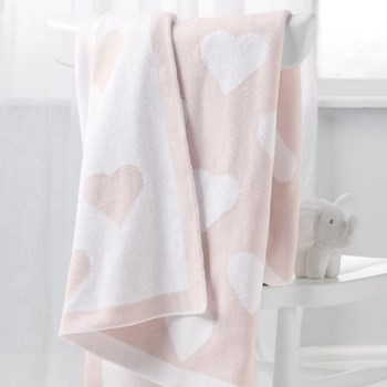 Heart Reversible blanket, 75 x 100cm, pink