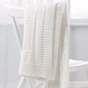 Patchwork blanket, 75 x 100cm, white