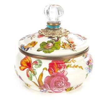 Flower Market Squashed pot, D12 x H13cm, white