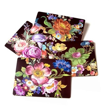 Flower Market Set of 4 placemats, W40 x L30cm, black