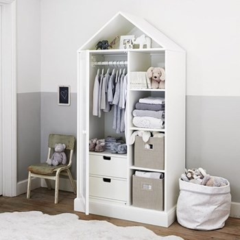Classic House Wardrobe, 180 x 89 x 50cm, white