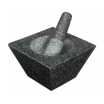 Square Pestle and mortar, 19 x 19 x 12cm, granite