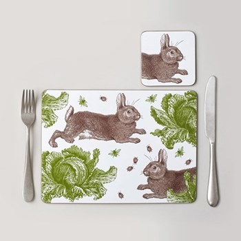 Classic Rabbit & Cabbage Set of 4 placemats, 28 x 21cm