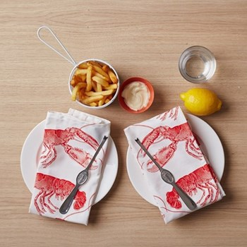 Lobster Set of 4 napkins, 45 x 45cm, coral
