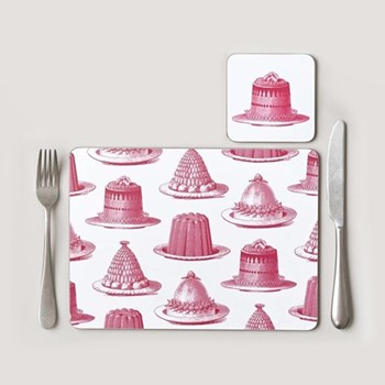 Jelly & Cake Set of 4 placemats, 28 x 21cm, raspberry