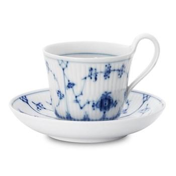 Blue Fluted Plain Teacup and saucer, 24cl