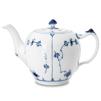 Blue Fluted Plain Teapot and cover, 1 litre