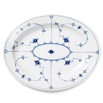Blue Fluted Plain Oval dish, 36.5cm