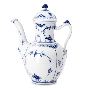 Blue Fluted Half Lace Coffee pot and cover, 1 litre