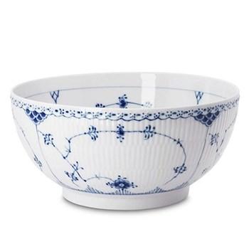 Blue Fluted Half Lace Round salad bowl, 2.2 litre