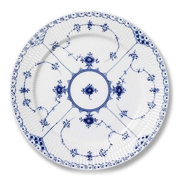 Blue Fluted Half Lace Plate, 27cm