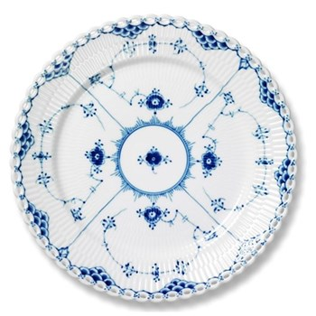 Blue Fluted Full Lace Plate, 25cm