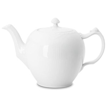 White Fluted Half Lace Teapot and cover, 1 litre